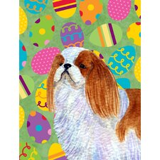 English Toy Spaniel Easter Eggtravaganza House Vertical Flag