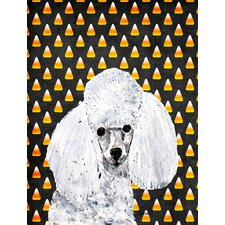 White Toy Poodle Candy Corn Halloween 2-Sided Garden Flag
