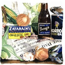 Barq's, Crabs, and Spices Indoor/Outdoor Throw Pillow