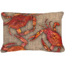 Cooked Crabs on Faux Burlap Indoor/Outdoor Throw Pillow