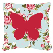 Butterfly Shabby Elegance Blue Roses Indoor/Outdoor Throw Pillow