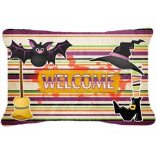 Witch Costume and Broom on Stripes Halloween Indoor/Outdoor Throw Pillow