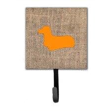 Dachshund Burlap and Orange Leash Holder and Wall Hook
