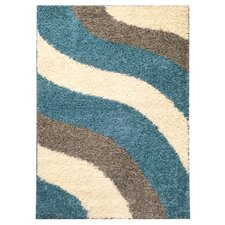 Bella Maxy Home Block Striped Waves Contemporary White/Turquoise Blue Shag Area Rug