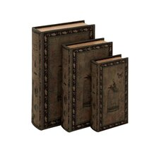 Doreward 3 Piece Decorative Wood Fabric Book Box Set