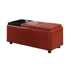 Alberta Rectangular Storage Ottoman with 3 Serving Trays
