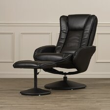 Leather Heated Reclining Massage Chair & Ottoman Set