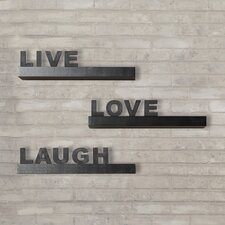 "Kelly 3 Piece ""Live, Love, Laugh"" Floating Shelf Set"