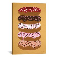 'Donuts Stacked' by Cat Coquillette Painting Print on Wrapped Canvas in Yellow