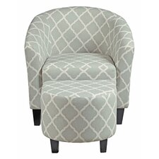 Upholstered Barrel Chair and Ottoman