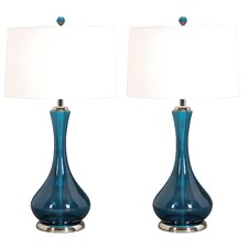 """Hans 28"""" H Table Lamp with Drum Shade (Set of 2)"""