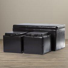 Calhoun 3 Piece Eco Leather Ottoman Set