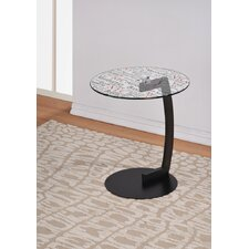 NYC Printed Glass Top End Table