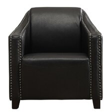 Bonded Black Leather Armchair With Stud Detail