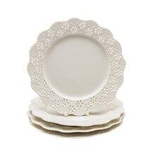 "Grace's Tea Ware La Blanca 8"" Porcelain Dessert Plate (Set of 4)"