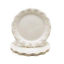 "Grace's Tea Ware Pierced Daisy 8"" Porcelain Dessert Plate Set of 4 Cream (Set of 4)"