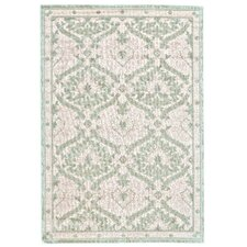 Cream and Light Blue Area Rug