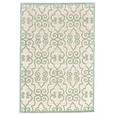 Cream and Light Green Area Rug