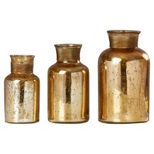 3 Piece Glass Decorative Bottle Set