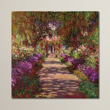 """""""A Pathway in Monet's Garden"""" by Claude Monet Reproduction Print on Canvas"""