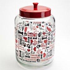 "Tara Reed Designs 176 oz.""I Love My Rescue Dog"" Round Glass Pet Treat Jar"