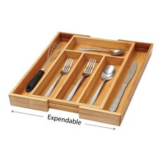 Bamboo 4 Compartment Flatware Organizer