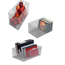 3 Piece Mesh Open Bin Storage Basket Organizers Set
