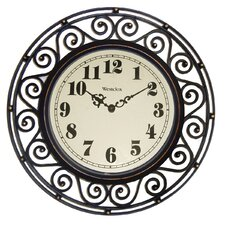 """12"""" Wrought Iron Detailed Wall Clock"""