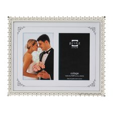 Two Opening Elegance Metal with Enamel Inlay and Jewels Picture Frame