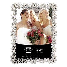 Heart To Heart Shiny Metal with Jewel Accents Picture Frame