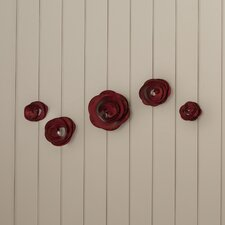 Corene Shawnee Magenta Roses 5 Piece Wall Décor Set
