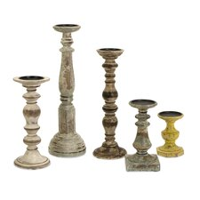 5 Piece Wood Candle Holder Set