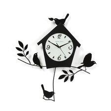 "Della 20"" Birds and Bird House Wall Clock"