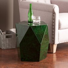 Benfield Faux Stone Accent Table in Green Malachite