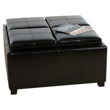 Dandridge Leather Tray Storage Ottoman