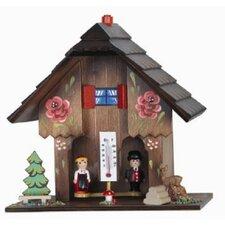 Weather House with Wooden Couple and Hand Painted Flowers and Thermometer