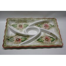 Rectangle Ceramic Food Section Divided Serving Dish