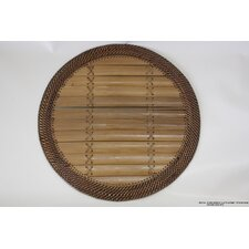 Round Bamboo Slat Placemat with Antique Wooven Edge