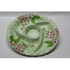 Round Ceramic Food Section Divided Serving Dish