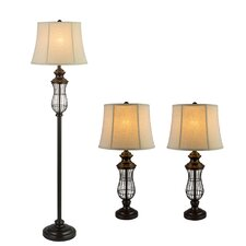 3 Piece Iron Metal Lamp Set with Empire Shade