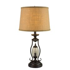 "Metal and Glass 26.5"" H Table Lamp with Drum Shade"