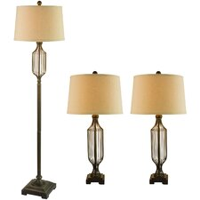 3 Piece Table Lamp and Floor Lamp with Drum Shade Set