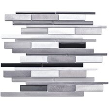 Random Sized Glass and Aluminum Mosaic Tile in Grey