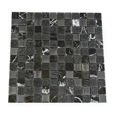 "1"" x 1"" Glass and Quartz Mosaic Tile in Black"
