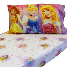 Princess Heart Fitted 2 Piece Toddler Sheet Pillowcase Set
