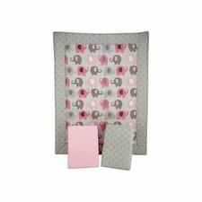 Elephant Time Pink Porta Portable Baby 2 Piece Crib Bedding Set