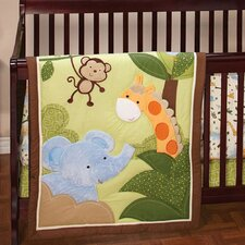 Jungle Time Baby Dust Ruffle 3 Piece Crib Bedding Set