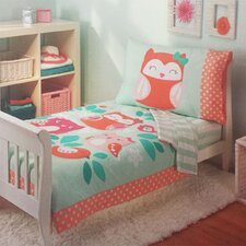 Owls Too Cute To Hoot Bed 4 Piece Toddler Bedding Set