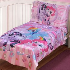 My Little Pony Satin Best Friends 4 Piece Toddler Bedding Set
