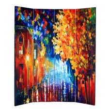 """71"""" x 69"""" Double Sided Painted Canvas 4 Panel Room Divider"""